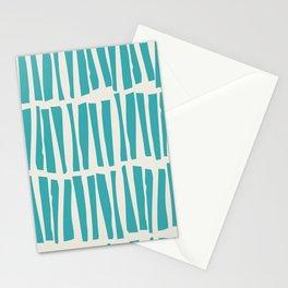 Aqua Teal Turquoise Solid Color Vertical Dash Stripe Line Pattern on Alabaster White - Aquarium SW 6767 Stationery Cards