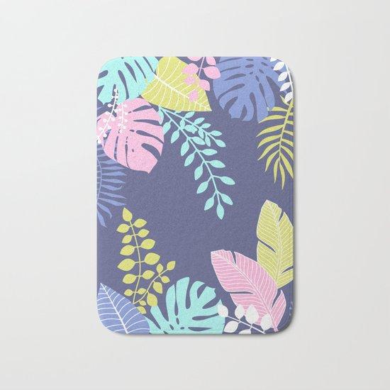Bold Pastel Jungle Floral Bath Mat