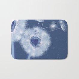 Love Blue Dandelions Hearts Design Bath Mat