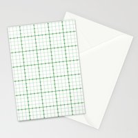 Dotted Grid Weave Green Stationery Cards