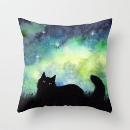Galaxy Sky and Cat Silhouette Throw Pillow