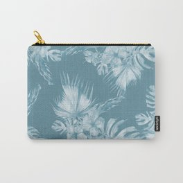 Teal Island Escape Palm Leaves + Flowers Carry-All Pouch