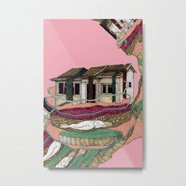 Glitch House on Pink Metal Print