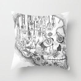 Anatomy Series: Skull Light Bulb Flowers Throw Pillow