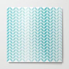 Ombre Aqua Geometric Pattern Metal Print