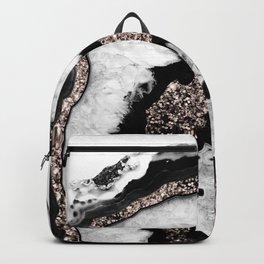 Gray Black White Agate with Rose Gold Glitter #1b #gem #decor #art #society6 Backpack