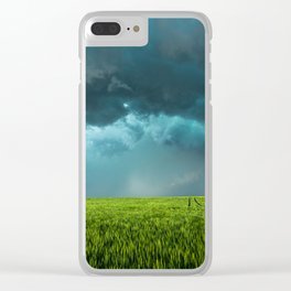 April Showers - Colorful Stormy Sky Over Lush Field in Kansas Clear iPhone Case