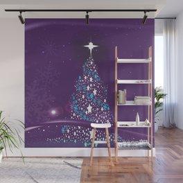 Purple Cold Christmas Wall Mural