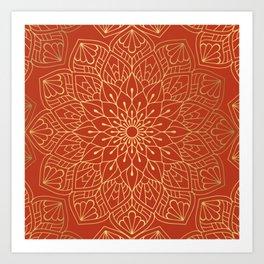 Gold Mandala Pattern On Red Art Print