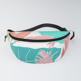 Coral Ginger Flowers + Elephant Ears in White Fanny Pack