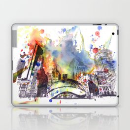 Chicago Bean Cityscape Watercolor Painting Laptop & iPad Skin