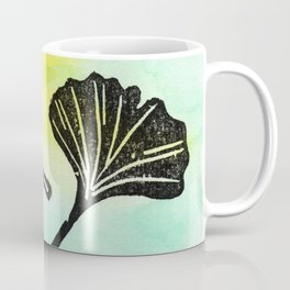 Ginkgo Biloba block print Coffee Mug