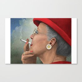 Queen of Denmark smoking a cig Canvas Print