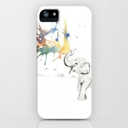 Elephant Spouting Watercolor iPhone Case