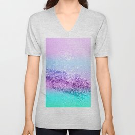 Unicorn Girls Glitter #14 #shiny #decor #art #society6 Unisex V-Neck