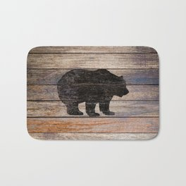 Rustic Bear Silhouette on Wood Country Art A231a Bath Mat