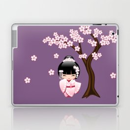 Japanese Bride Kokeshi Doll on Purple Laptop & iPad Skin