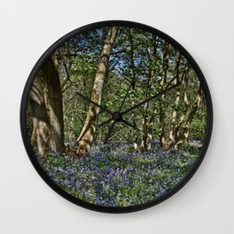 Bluebells in the woods Wall Clock