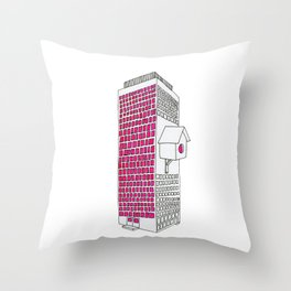 High rise birdhouse. Throw Pillow