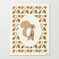 squirrel Canvas Prints featuring Squirrel by Jane Mathieu