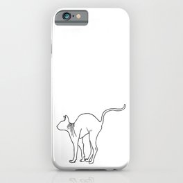 Sphynx Cat Arching Its Back - Naked Cat -  Simple Line - Minimal iPhone Case