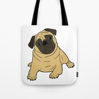 pug Tote Bags featuring PUG by Elena O'Neill
