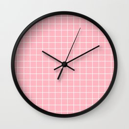 Light pink - pink color - White Lines Grid Pattern Wall Clock