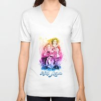 river song V-neck T-shirts featuring River Song Watercolor Mixed Media Digital Painting by Purshue