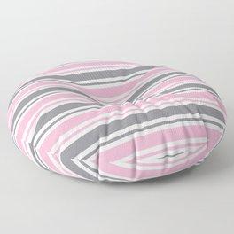 Pastel Pink & Gray & White Stripe Pattern Floor Pillow