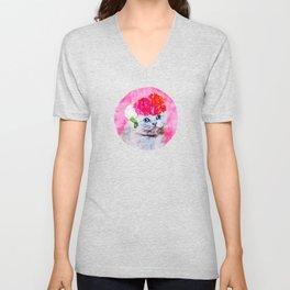 Cat Graphic Cat Watercolor Floral Cat Fancy Cat Clipart Unisex V-Neck