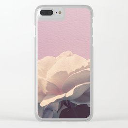 Vintage Spring Pearl White Roses Lavender Sky Clear iPhone Case