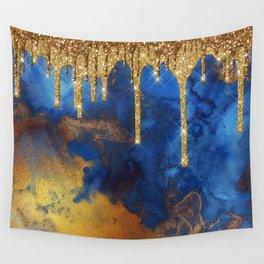 Gold Rain on Indigo Marble Wall Tapestry