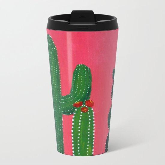 Pink cactus Metal Travel Mug