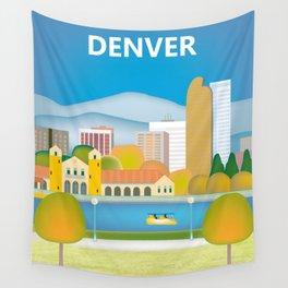 Denver, Colorado - Skyline Illustration by Loose Petals Wall Tapestry