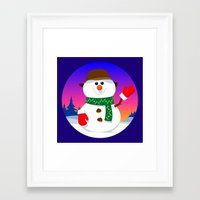 snowman Framed Art Prints featuring SnowMan by tuditees