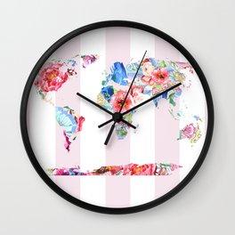 Floral World - Pink Stripe Wall Clock