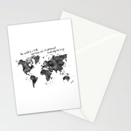 The world is a book, world map in black watercolor Stationery Cards