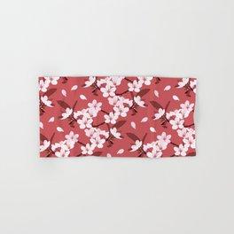 Sakura on red background Hand & Bath Towel