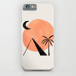 Minimalist Abstract Ink Collage Ancient Egypt Pyramids Tan Circle Desert Landscape by Ejaaz Haniff iPhone Case
