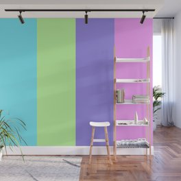 Spring - Pastel - Easter Greens Blues and Purple Stripes Wall Mural