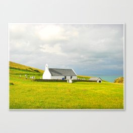 Mwnt Chapel. Cardigan. Embossed. Canvas Print