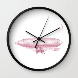 Airship 2, vector engraving Wall Clock