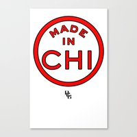chicago bulls Canvas Prints featuring Made in Chicago CHI BULLS by DCMBR - December Creative Group