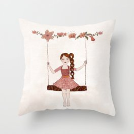 Girl on a s swing Throw Pillow