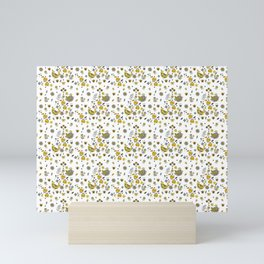 Scandinavian Folklore Yellow and Grey birds Pattern Mini Art Print