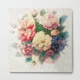 Old Roses - Encaustic & Decoupage Metal Print