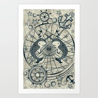 narwhal Art Prints featuring Narwhal by AmKiLi