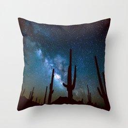 Milky Way Cacti Throw Pillow