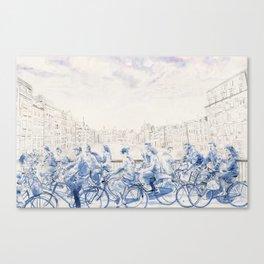 Amsterdam cyclists Canvas Print