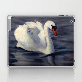 Swan Swimming in Sunshine, Oil Pastel Painting Laptop & iPad Skin
